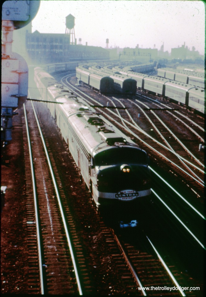 A westbound NYC passenger train as it approaches LaSalle Street Station in November 1963. At right is the CRI&P's coach yard. The view looks south from the Roosevelt Road bridge. (John Szwajkart Photo)
