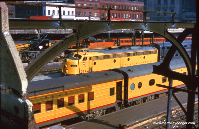Milwaukee Road equipment in downtown Chicago.