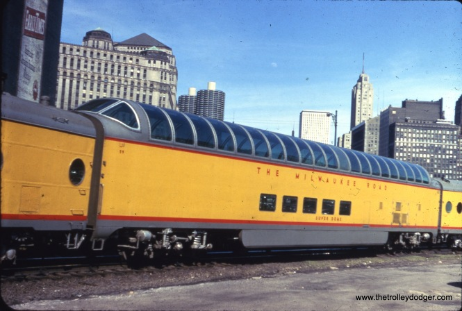 A Milwaukee Road dome car near Union Station in Chicago.