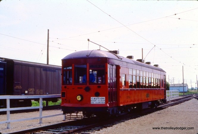 Chicago & Milwaukee Electric 354, built in 1928 by the St. Louis Car Company, is seen at the Illinois Railway Museum in May 1977. It ran in Milwaukee and Waukegan as a North Shore Line city streetcar.
