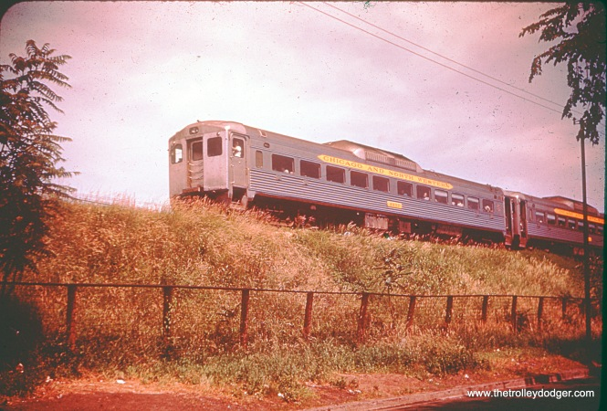 C&NW RDC car 9933 just north of Thome Avenue in August 1956.
