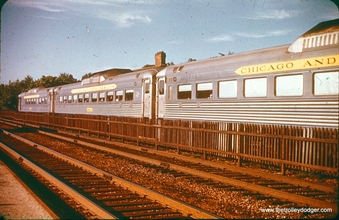 C&NW RDC cars, southbound at Kenmore station, Chicago, 1956.