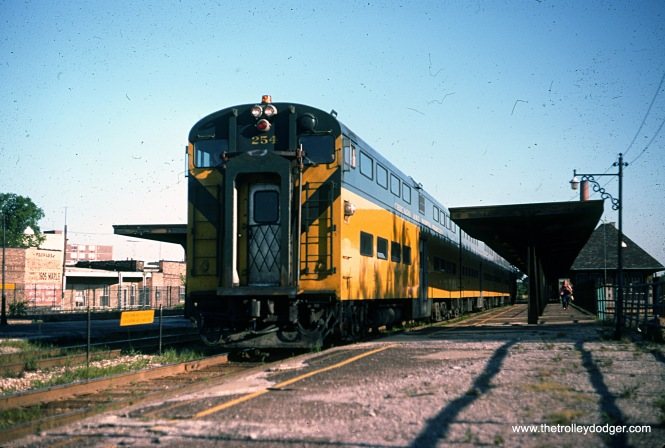 C&NW cab car 254 at Davis Street in Evanston on July 18, 1976.
