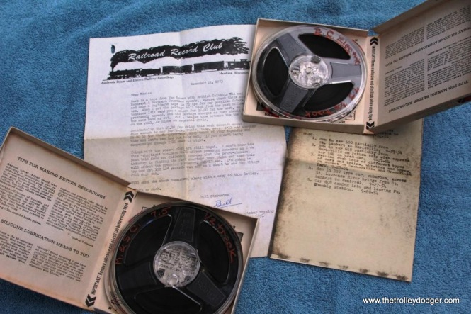 18 BC Electric and Montreal & South Counties tapes with Steventon letter