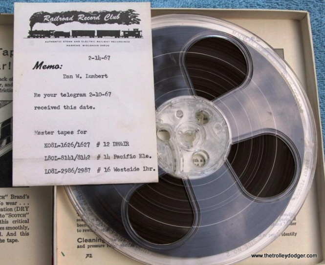27 master tape Railroad Record Club with memo