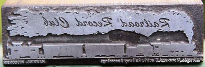 6 Another style Railroad Record Club logo print block