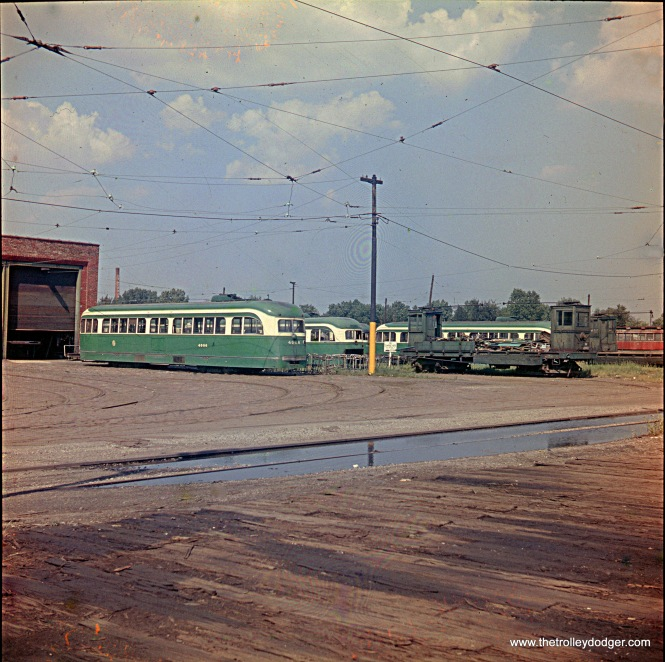 This photo, taken at the CTA's South Shops in the second half of 1956, shows various prewar PCCs (including 4006) that were out of service following the bustitution of Route 49 - Western. Trolley poles have already been removed, and it appears that seat frames are stacked nearby. From an original medium format transparency.