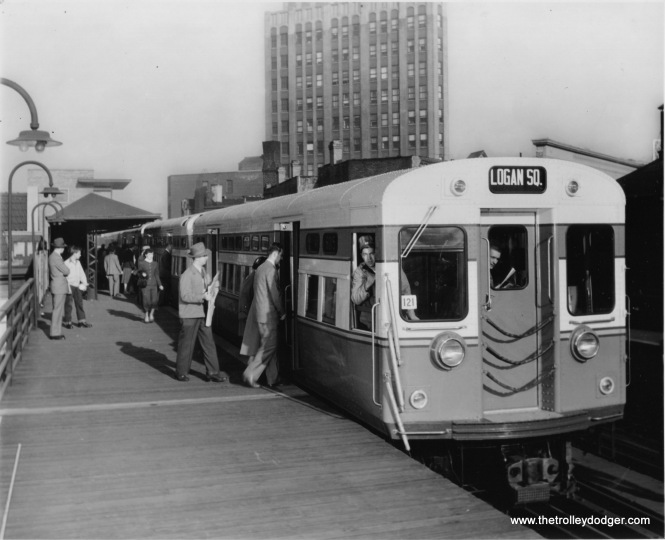 "When the Dearborn-Milwaukee subway opened in 1951, parts of the ""L"" were closed. Here. we see a Logan Suare-bound train on the Paulina portion of the Metropolitan ""L"", soon the be closed, probably in 1950."