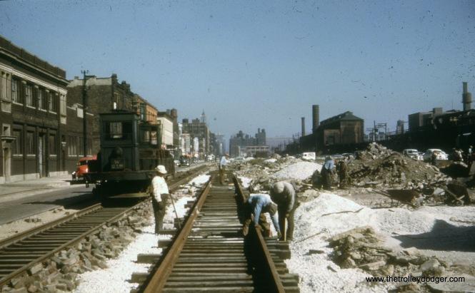 Construction of the Van Buren temporary trackage in 1951-52.