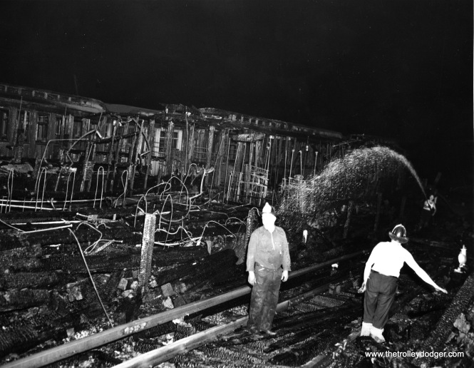 The results of a fire that destroyed several wooden el cars on New York's system.. Wooden cars were banned from use in the Chicago subways for safety reasons.