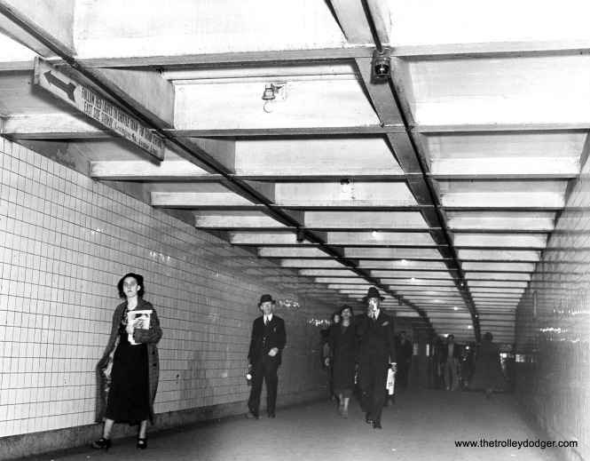 A New York subway passage in 1937, showing the widespread use of subway tile. Chicago's subways were in turn influenced by New York's far more extensive system.