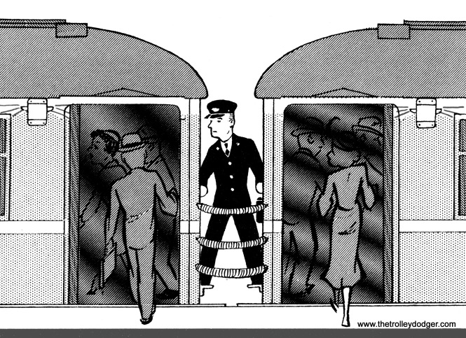 Chicago's subways were opened using 1920s-era steel rapid transit cars, where the conductors had to stand between cars to open and close the doors.