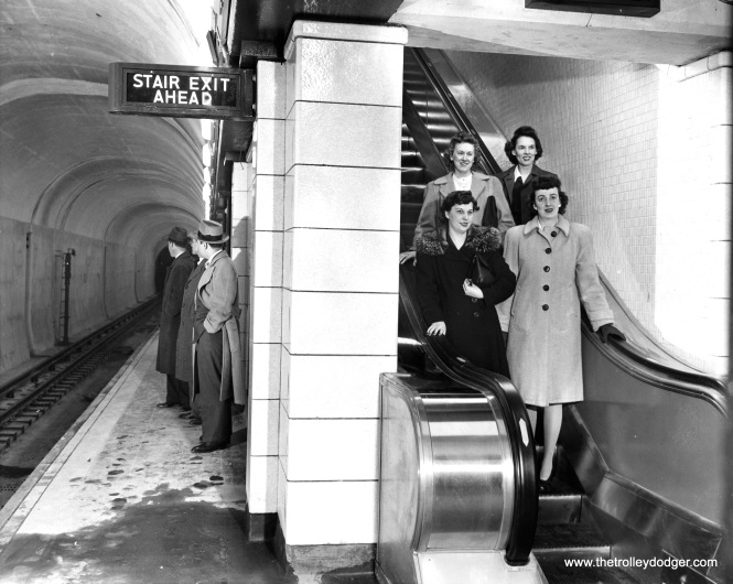 An obviously posed photo prior to the opening of the State Street Subway in 1943.