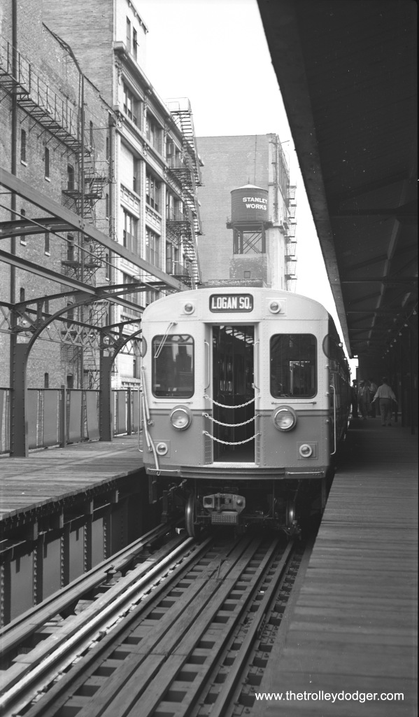 In 1950, the first of the CTA's new 6000-series rapid transit cars, on display in the North Water Street stub-end terminal.