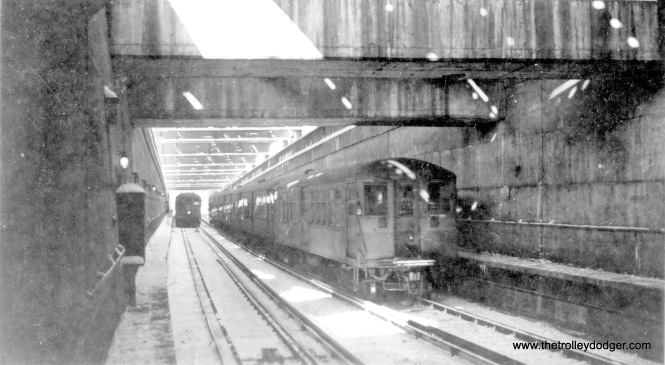 A snowy scene at the north portal of the State Street Subway, early 1940s.