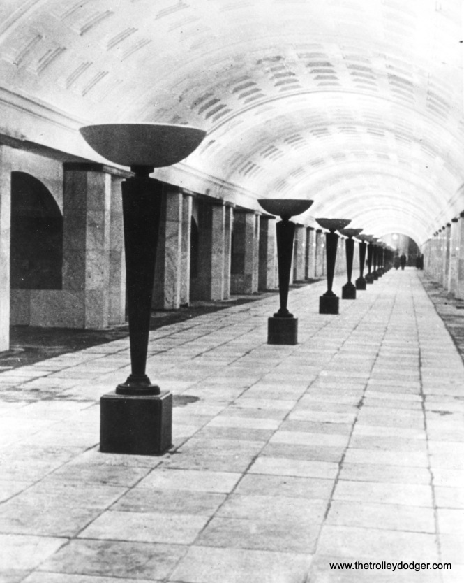Indirect lighting was used in the newe Moscow Subway, shown here in 1936, and would also feature in Chicago's tube.