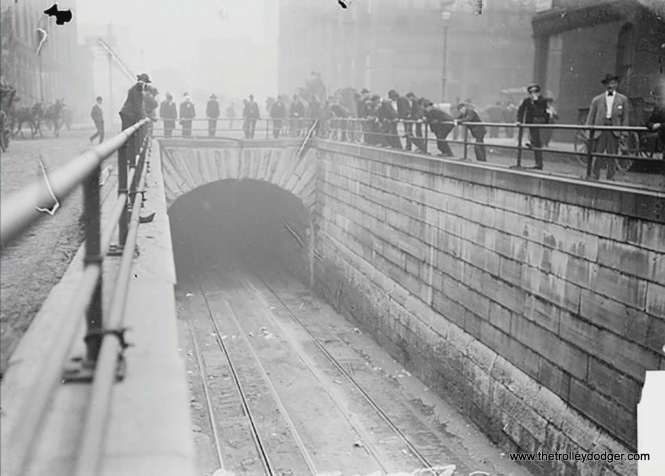 A river tunnel entrance during cable car days. This is either the Washington or LaSalle tunnel.