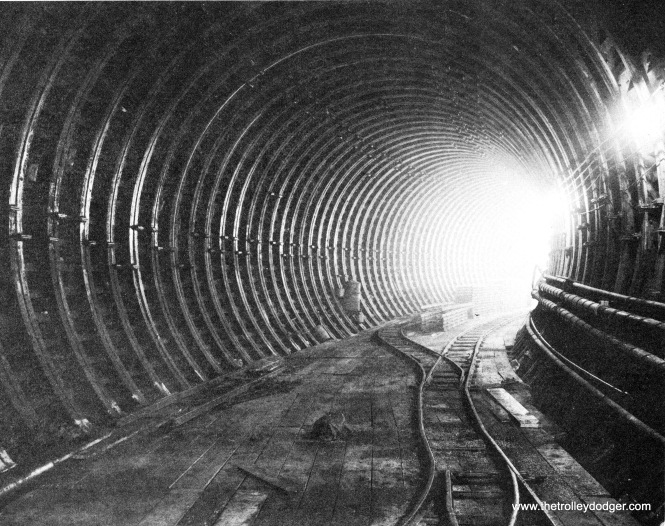 A subway tunnel before the addition of concrete.