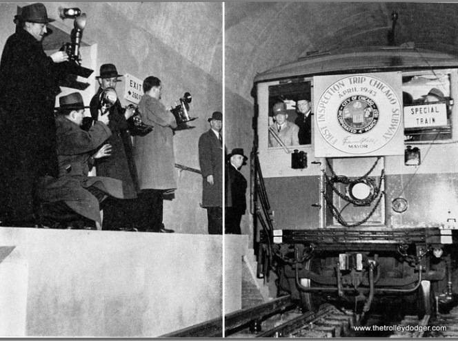 The first ceremonial train in the State Street Subway, April 1943.