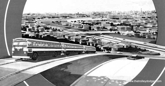 "In the late 1950s, the CTA envisioned a sort of ""bus rapid transit"" line in the median of the planned Southwest (now Stevenson) Expressway. Three buses are coupled together and are running along a guide rail, and presumably would uncouple and go their separate ways at the end of the journey,"
