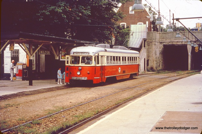 MBTA (Boston) double-end PCC 3335 (ex-Dallas) is at Milton on the Ashmont-Mattapan line in the 1960s (Photo by Frederick F. Marder)