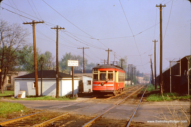 CTA 6203, another one-man car, is on the 93rd Street line in March 1951.