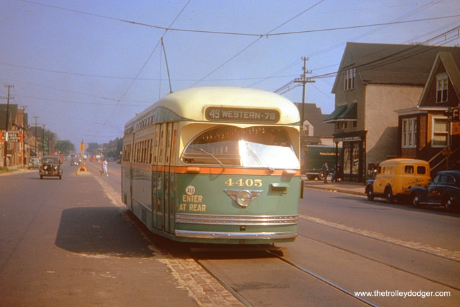 CTA PCC 4405 is southbound on Western Avenue on August 5, 1949.