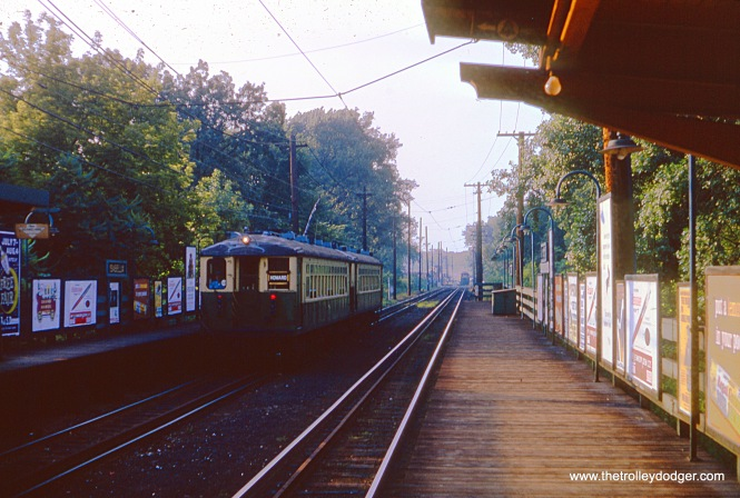 On June 27, 1964, a two-car train of CTA 4000s is inbound running local service at Isabella. This station closed in the early 1970s and was quickly removed.