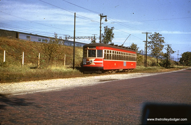 "CTA ""Peter Witt"" car 6287 is on the Cottage Grove private right-of-way on June 10, 1951."