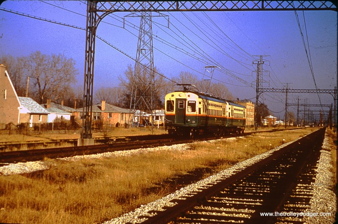 The date on this slide mount is March 1964. If so, this two-car train on the CTA Skokie Swift must be a test train, prior to the beginning of regular service in April.