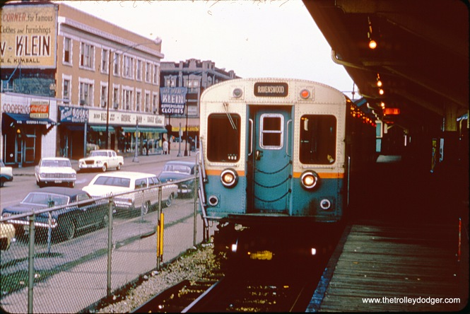 "A train of CTA 6000s waits for the signal to leave the terminal at Lawrence and Kimball on April 21, 1965. The Ravenswood ""L"" is now the Brown Line."