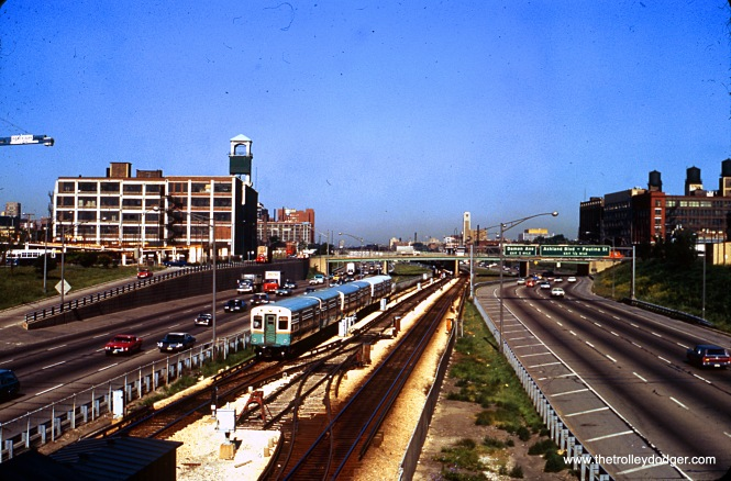 CTA 6565 is eastbound on the Congress rapid transit line at Morgan on July 16, 1971.