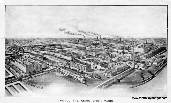 "An early 1900s view of Chicago's Union Stock Yards. The Stock Yards ""L"" branch can be seen at left. It closed in 1957."
