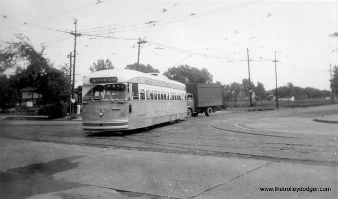 CTA PCC 4390 is presumably northbound at 95th Street, heading towards Broadway and Devon on Route 36 in August 1955. (Roy W. Bruce Photo)