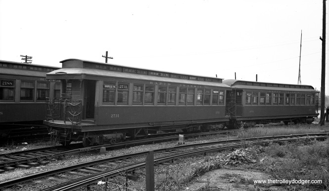 "Chicago Rapid Transit Company 2731 is at Laramie Yard (on the Garfield Park ""L"") in September 1936."
