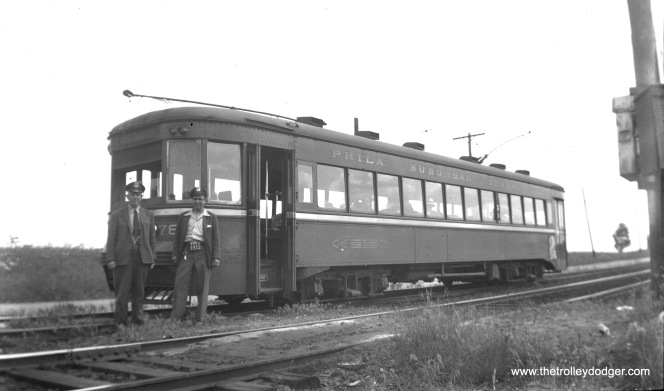 Red Arrow car 78, built by Brill in 1932, is at Newtown Siding in Newtown Square, PA on May 30, 1949 (on the West Chester route).