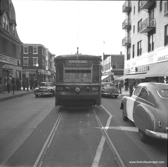 "Philadelphia Suburban Transportation Company (aka Red Arrow Lines) ""Master Unit"" car 83 is at the end of the line in West Chester, PA. Service on this interurban was replaced by bus in 1954, to facilitate the widening of West Chester Pike."