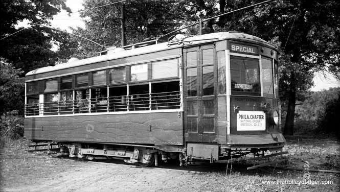 Philadelphia Transportation Company Birney car #1, signed for a fantrip sponsored by the Philadelphia chapter of the National Railway Historical Society.
