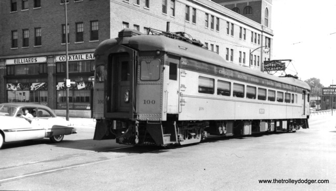 Another photo of #100 at South Bend, but not taken at the same time. Note how the windows have been changed, with the installation of air conditioning. This photo appears to date to the early 1950s. (Charles Savage Photo)