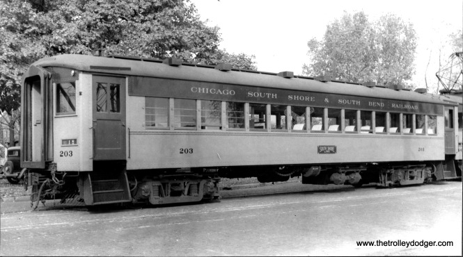 Trailer #203 at South Bend in October 1938. (C. V. Hess Photo)
