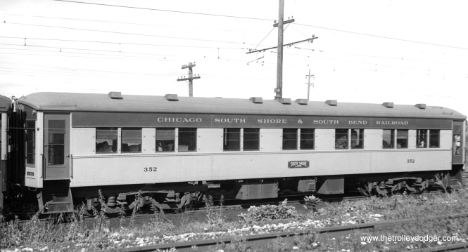 Parlor car #352 at Lydick, Indiana on September 20, 1942. It appears to have been rebuilt later and gone to the Canada Gulf & Terminal Railway. See their car 504 for comparison. (Paul Stringham Photo)
