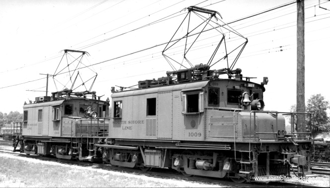 Locos #1009 and 1004 at Michigan City in June 1939. (Birney Miller Photo)
