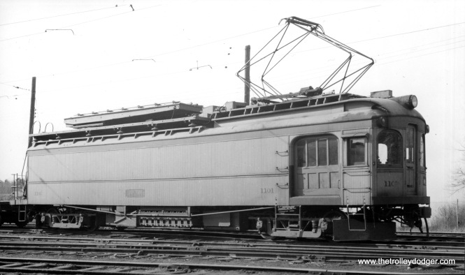 Line car #1101, formerly a passenger car, at Michigan City in April 1940. (Eugene Van Dusen Photo)