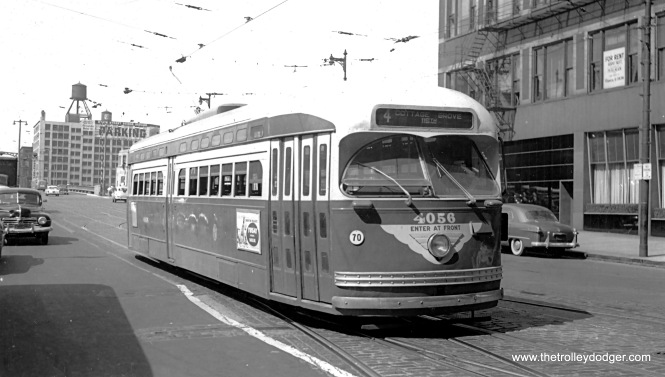 CTA 4056 is running on Route 4 - Cottage Grove in 1953. This is one of the postwar PCCs that was converted to one-man operation.