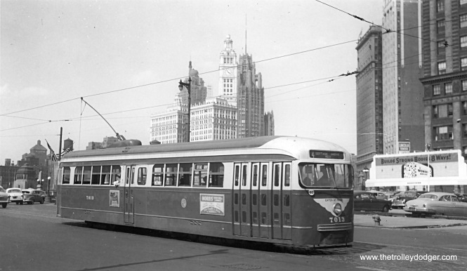 CTA 7013 running on Route 4 - Cottage Grove in 1953.
