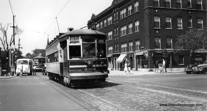 "CSL 3300 on Montrose. Note the old Divco milk truck at left. Jim Hufman adds that we are ""looking west on Montrose from Ashland, the building on the right is on the NW corner."" (Joe L. Diaz Photo)"