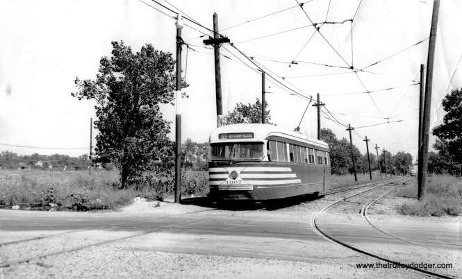CTA prewar PCC 4007 at 63rd Place and Narragansett, west end of Route 63, on September 11, 1948.