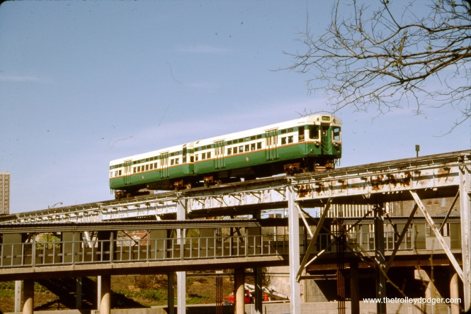 CTA 6101-6102 on the Paulina Connector, crossing the Congress rapid transit line, on April 21, 1991. This trackage is now used by the CTA Pink Line. Ater being stored at the Fox River Trolley Museum for many years, these cars are now back on CTA property as part of their historical collection and it is hoped they will someday run again. (Albert J. Reinschmidt Photo)