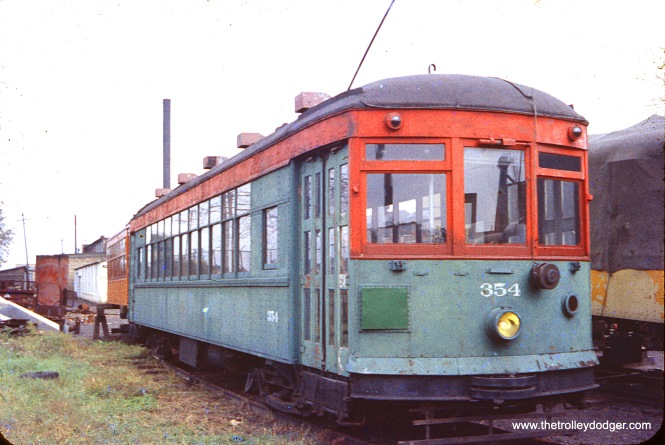 North Shore Line city streetcar #354, which once ran on the streets of Milwaukee and Waukegan, at the Illinois Electric Railway Museum in North Chicago, September 15, 1957.