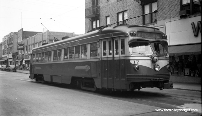 Philadelphia Suburban Transportation Co. (aka Red Arrow) #17, a double-ended interurban car built by St. Louis Car Co. in 1949, is at the west end of the long West Chester line, which was bussed in 1954 to facilitate the widening of West Chester Pike.
